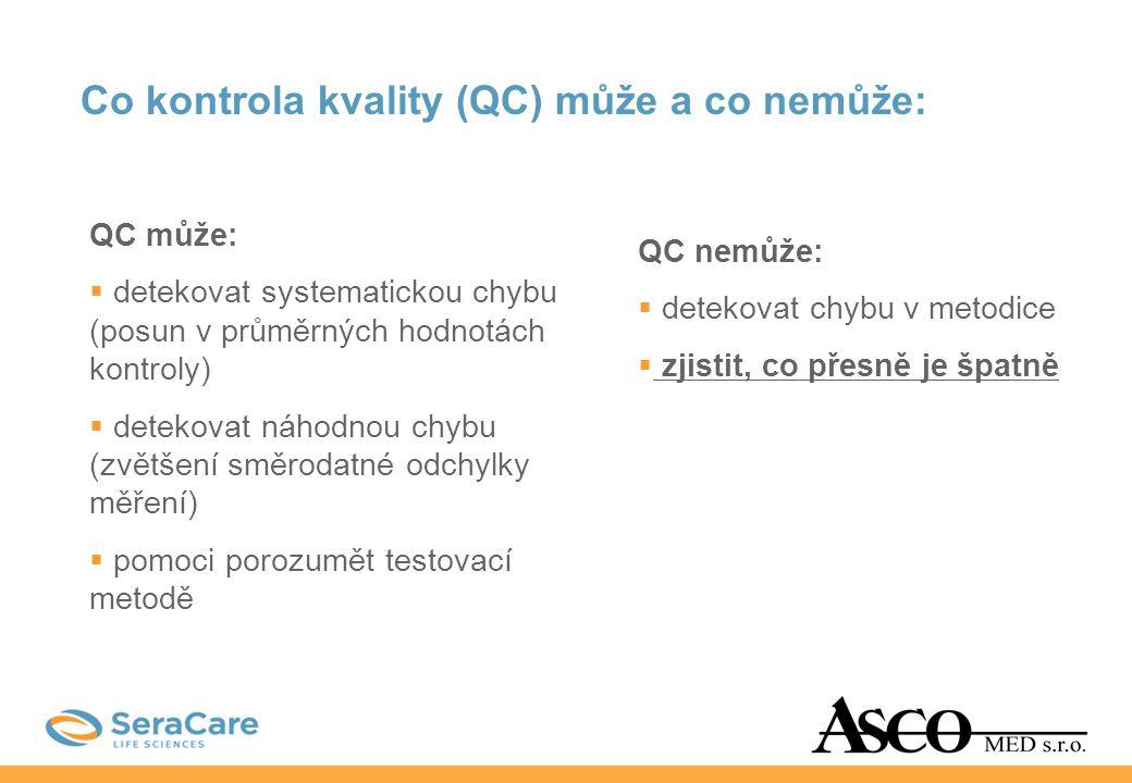 Co kontrola kvality (QC) může a co nemůže: QC může:  detekovat systematickou chybu (posun v průměrných hodnotách kontroly)  detekovat náhodnou chybu
