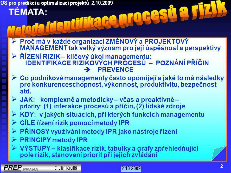 PŘÍNOSY PRO PODNIK  optimalizace podnikového systému řízení - strategického řízení, systému procesního řízení, preventivních programů v jednotlivých oblastech managementu  zvýšení efektivity systému podnikového controllingu a interního, příp.