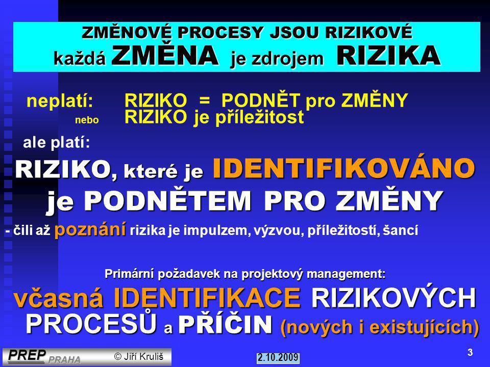 PREP PRAHA PREP PRAHA © Jiří Kruliš 2.10.2009 3 ale platí: RIZIKO, které je IDENTIFIKOVÁNO RIZIKO, které je IDENTIFIKOVÁNO je PODNĚTEM PRO ZMĚNY poznání - čili až poznání rizika je impulzem, výzvou, příležitostí, šancí Primární požadavek na projektový management: včasná IDENTIFIKACE RIZIKOVÝCH PROCESŮ a PŘÍČIN (nových i existujících) ZMĚNOVÉ PROCESY JSOU RIZIKOVÉ každá ZMĚNA je zdrojem RIZIKA neplatí: RIZIKO = PODNĚT pro ZMĚNY nebo RIZIKO je příležitost