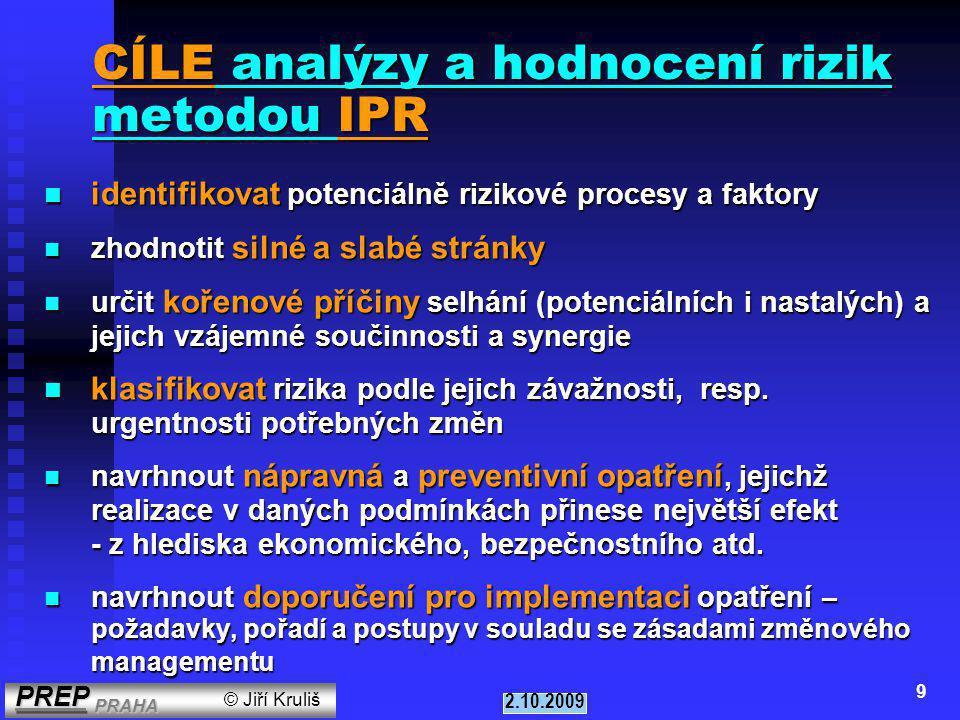 PREP PRAHA PREP PRAHA © Jiří Kruliš 2.10.2009 8 7.u rizikových provozů (nebezpečí selhání procesů, nehod, havárií) 8.v controllingu - v rámci auditů (