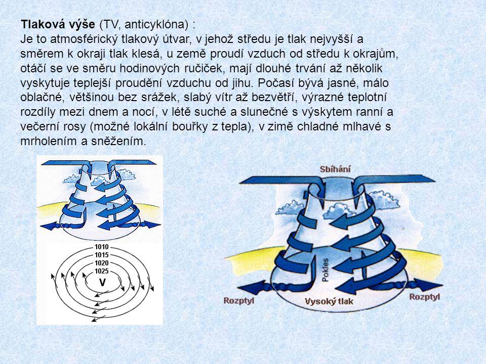 Tlaková výše (TV, anticyklóna) : Je to atmosférický tlakový útvar, v jehož středu je tlak nejvyšší a směrem k okraji tlak klesá, u země proudí vzduch