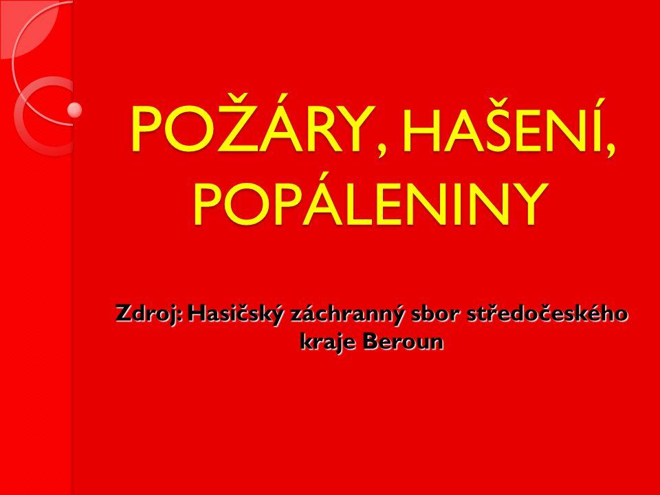 POŽÁRY, HAŠENÍ, POPÁLENINY Zdroj: Hasičský záchranný sbor středočeského kraje Beroun