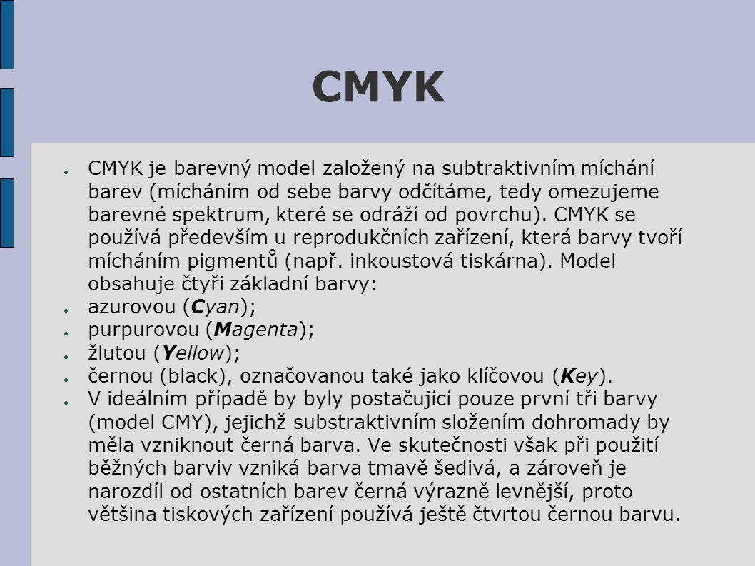 CMYK ● CMYK je barevný model založený na subtraktivním míchání barev (mícháním od sebe barvy odčítáme, tedy omezujeme barevné spektrum, které se odráží od povrchu).
