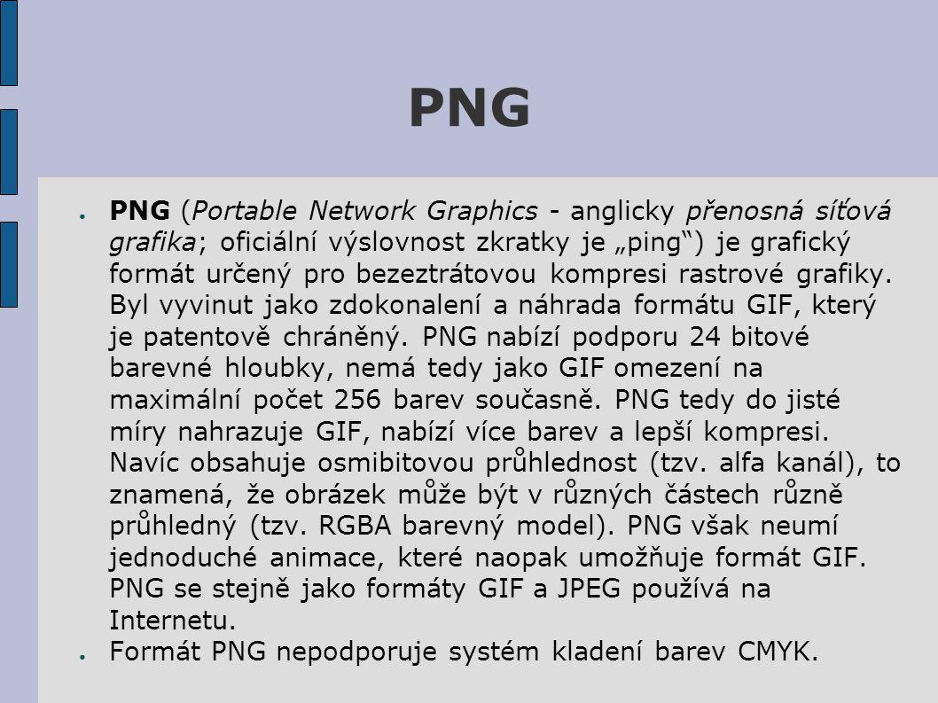 """PNG ● PNG (Portable Network Graphics - anglicky přenosná síťová grafika; oficiální výslovnost zkratky je """"ping ) je grafický formát určený pro bezeztrátovou kompresi rastrové grafiky."""