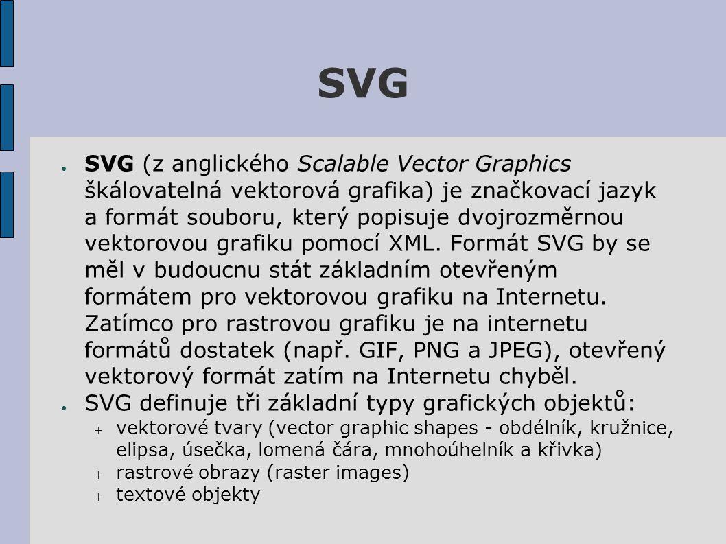 SVG ● SVG (z anglického Scalable Vector Graphics škálovatelná vektorová grafika) je značkovací jazyk a formát souboru, který popisuje dvojrozměrnou vektorovou grafiku pomocí XML.