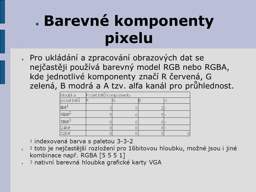 ● Barevné komponenty pixelu ● Pro ukládání a zpracování obrazových dat se nejčastěji používá barevný model RGB nebo RGBA, kde jednotlivé komponenty značí R červená, G zelená, B modrá a A tzv.