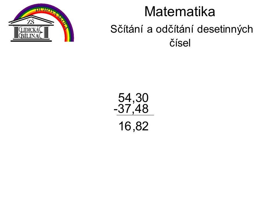 2 0 Matematika Sčítání a odčítání desetinných čísel 54,3 -37,48,861