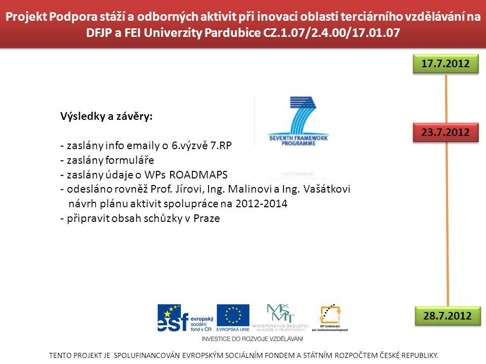 Projekt Podpora stáží a odborných aktivit při inovaci oblasti terciárního vzdělávání na DFJP a FEI Univerzity Pardubice CZ.1.07/2.4.00/17.01.07 TENTO