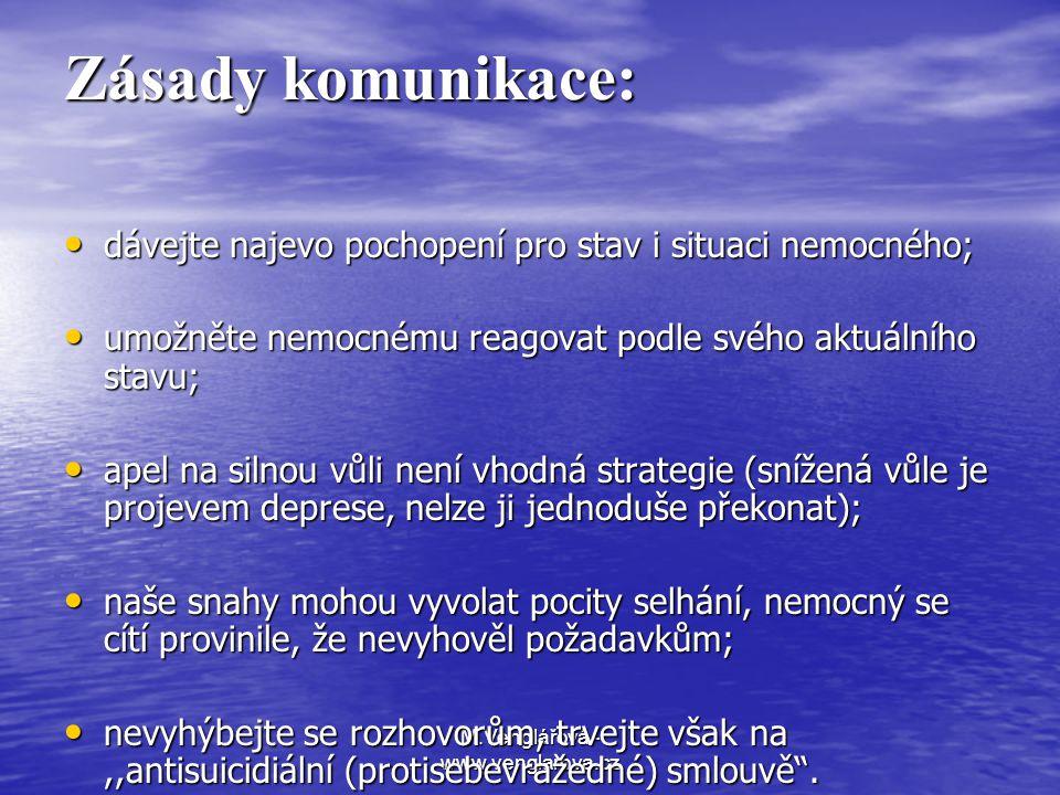 M.Venglářová - www.venglarova.cz Zásady komunikace: • dávejte najevo pochopení pro stav i situaci nemocného; • umožněte nemocnému reagovat podle svého