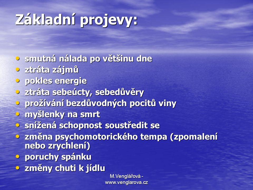 M.Venglářová - www.venglarova.cz Základní projevy: • smutná nálada po většinu dne • ztráta zájmů • pokles energie • ztráta sebeúcty, sebedůvěry • prož