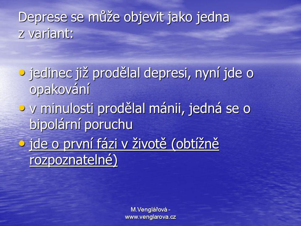 M.Venglářová - www.venglarova.cz Deprese se může objevit jako jedna z variant: • jedinec již prodělal depresi, nyní jde o opakování • v minulosti prod