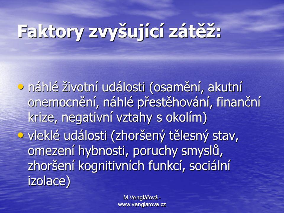 M.Venglářová - www.venglarova.cz Faktory zvyšující zátěž: • náhlé životní události (osamění, akutní onemocnění, náhlé přestěhování, finanční krize, ne