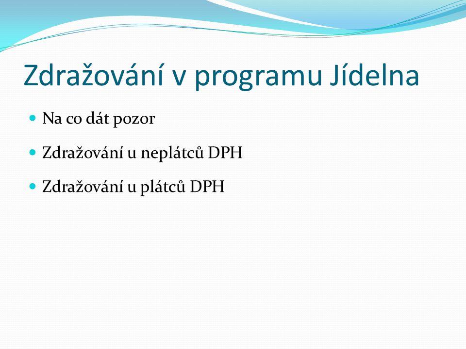 Zdražování v programu Jídelna  Na co dát pozor  Zdražování u neplátců DPH  Zdražování u plátců DPH