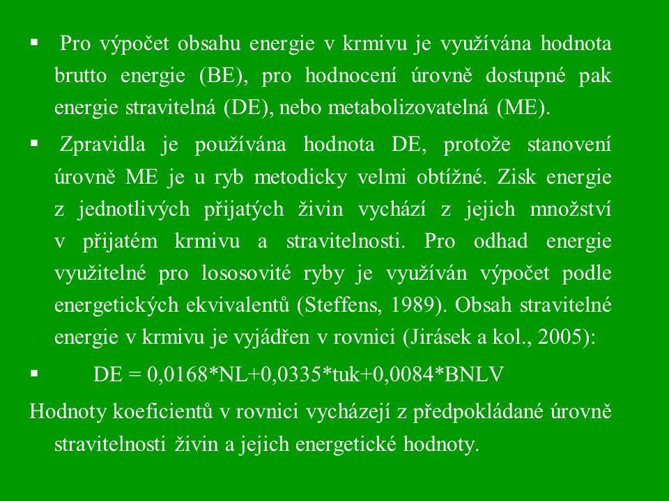  Pro výpočet obsahu energie v krmivu je využívána hodnota brutto energie (BE), pro hodnocení úrovně dostupné pak energie stravitelná (DE), nebo metab