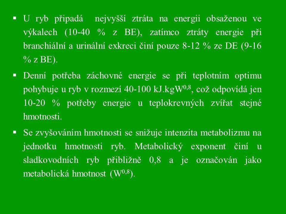  U ryb připadá nejvyšší ztráta na energii obsaženou ve výkalech (10-40 % z BE), zatímco ztráty energie při branchiální a urinální exkreci činí pouze 8-12 % ze DE (9-16 % z BE).