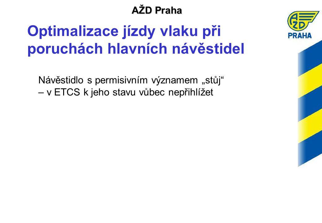 """AŽD Praha Optimalizace jízdy vlaku při poruchách hlavních návěstidel Návěstidlo s permisivním významem """"stůj – v ETCS k jeho stavu vůbec nepřihlížet"""