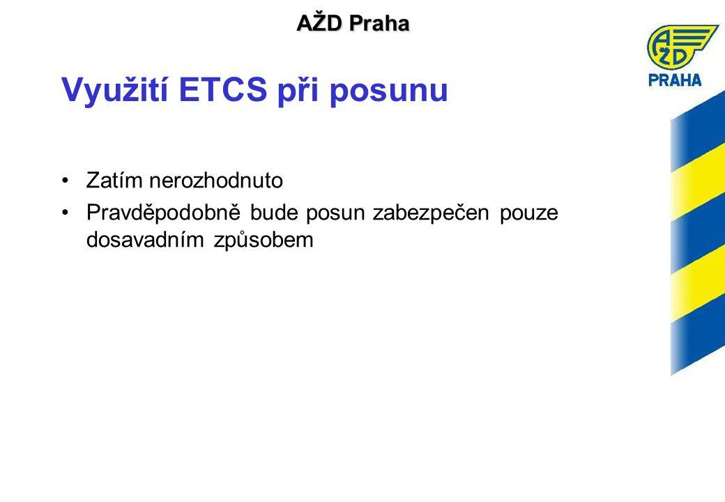AŽD Praha Využití ETCS při posunu •Zatím nerozhodnuto •Pravděpodobně bude posun zabezpečen pouze dosavadním způsobem