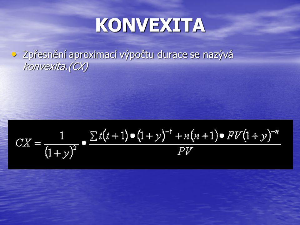 KONVEXITA • Zpřesnění aproximací výpočtu durace se nazývá konvexita.(CX)