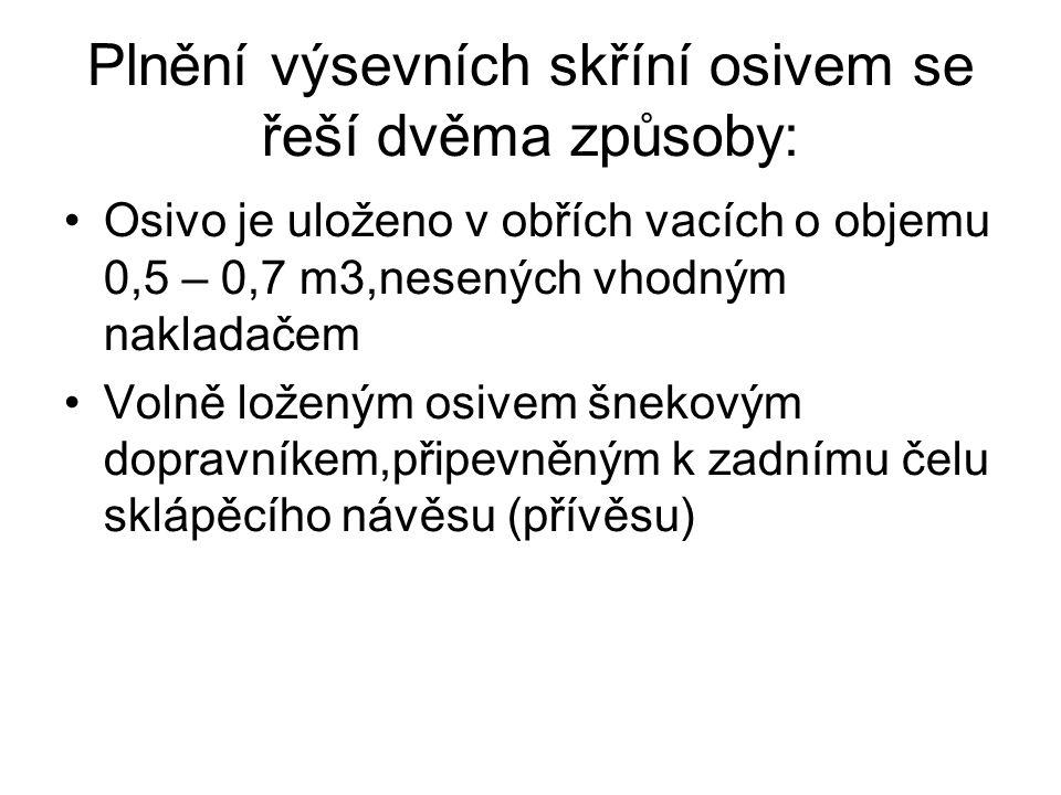Plnění výsevních skříní osivem se řeší dvěma způsoby: •Osivo je uloženo v obřích vacích o objemu 0,5 – 0,7 m3,nesených vhodným nakladačem •Volně loženým osivem šnekovým dopravníkem,připevněným k zadnímu čelu sklápěcího návěsu (přívěsu)