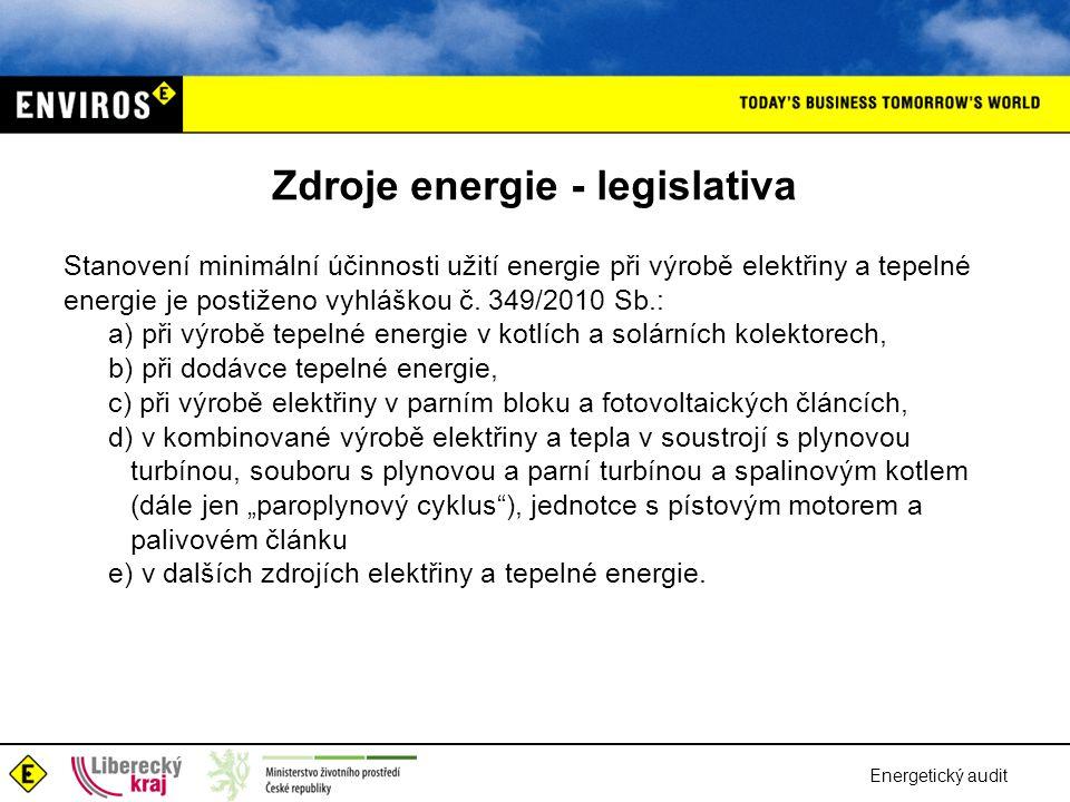 Energetický audit Zdroje energie - legislativa Stanovení minimální účinnosti užití energie při výrobě elektřiny a tepelné energie je postiženo vyhlášk