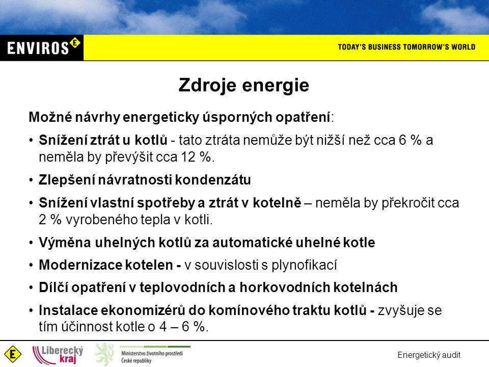 Energetický audit Zdroje energie Možné návrhy energeticky úsporných opatření: •Snížení ztrát u kotlů - tato ztráta nemůže být nižší než cca 6 % a nemě