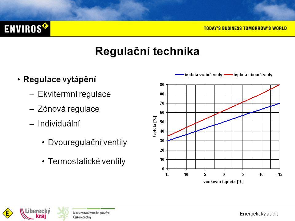 Energetický audit Regulační technika •Regulace vytápění – Ekvitermní regulace – Zónová regulace – Individuální •Dvouregulační ventily •Termostatické v