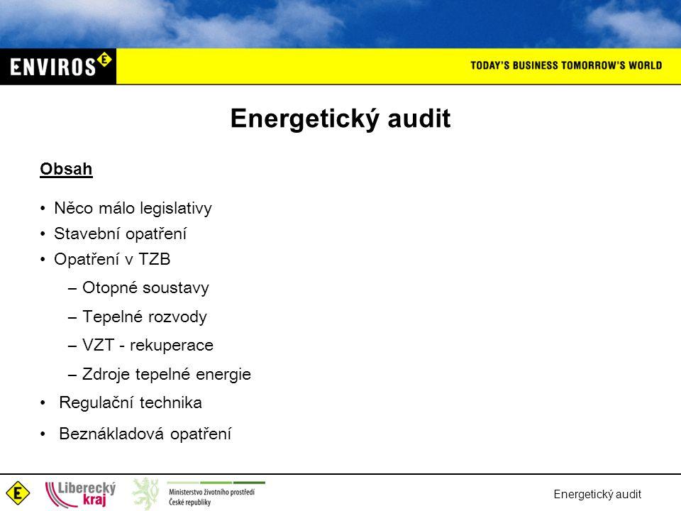 Energetický audit Tepelné rozvody Obvyklé ztráty tepelných rozvodů: – primární rozvody : průměrně od 5 do 10 % – ztráty sekundární rozvody : obvykle od 3 do 6 % Energeticky úsporná opatření lze rozdělit na: –Beznákladová • organizace dodávek tepla –Nízkonákladová • oprava poškozených částí izolace • provedení intenzivního proplachu potrubních systémů –Vysokonákladová • obnova izolací na celých větvích