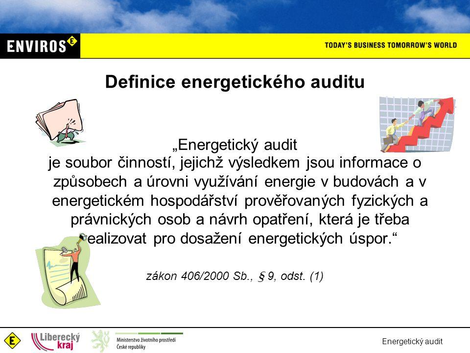 Energetický audit Postup prací na energetickém auditu •popis výchozího stavu •zhodnocení výchozího stavu •návrhy úsporných opatření •ekonomické vyhodnocení variant •environmentální vyhodnocení variant •výběr optimální varianty •výstupy energetického auditu