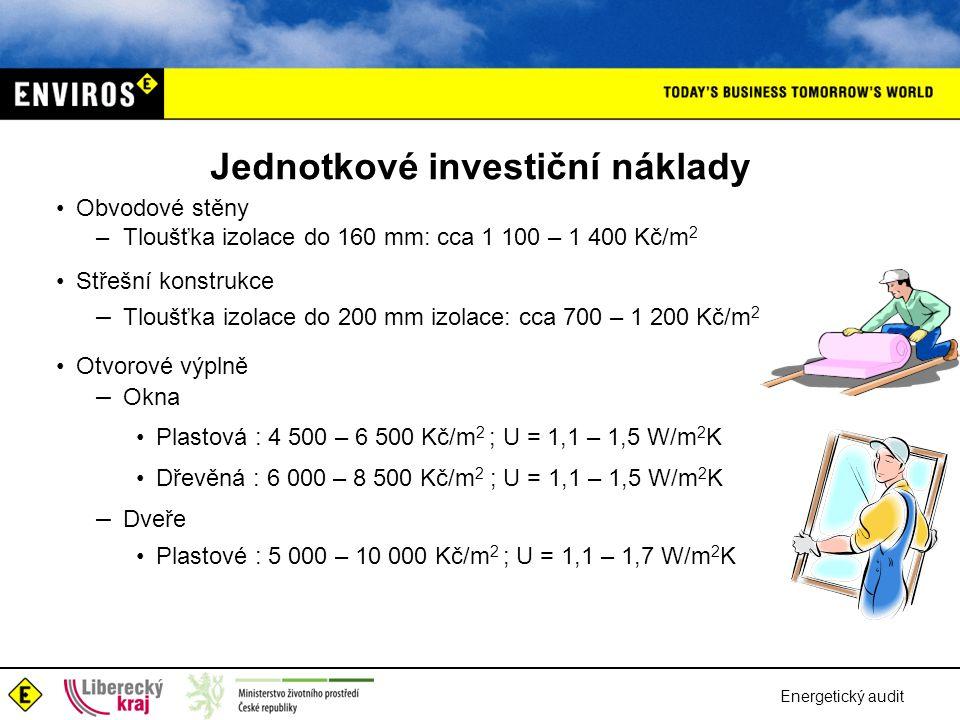 Jednotkové investiční náklady •Obvodové stěny – Tloušťka izolace do 160 mm: cca 1 100 – 1 400 Kč/m 2 •Střešní konstrukce – Tloušťka izolace do 200 mm