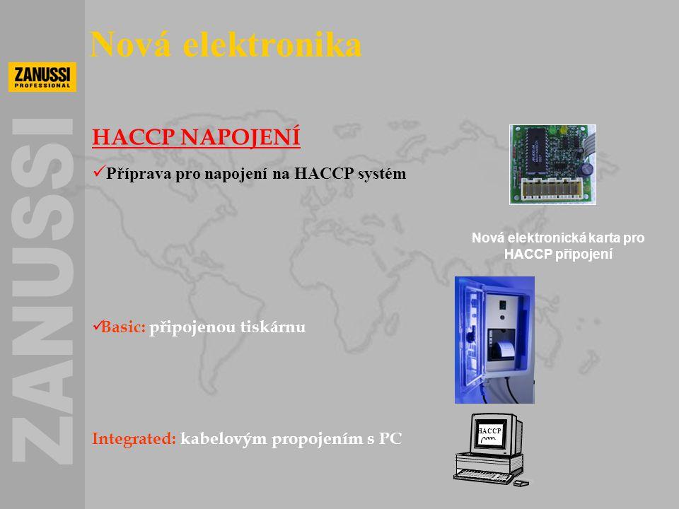 Nová elektronická karta pro HACCP připojení Nová elektronika HACCP NAPOJENÍ  Příprava pro napojení na HACCP systém  Basic: připojenou tiskárnu Integ