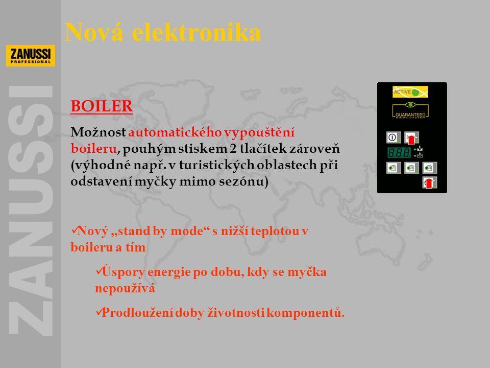 BOILER Možnost automatického vypouštění boileru, pouhým stiskem 2 tlačítek zároveň (výhodné např. v turistických oblastech při odstavení myčky mimo se