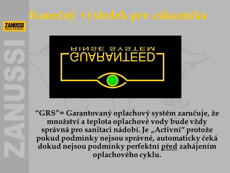 """""""GRS""""= Garantovaný oplachový systém zaručuje, že množství a teplota oplachové vody bude vždy správná pro sanitaci nádobí. Je """"Activní"""" protože pokud p"""