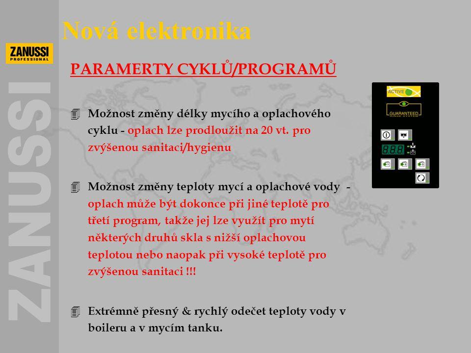 PARAMERTY CYKLŮ/PROGRAMŮ 4 Možnost změny délky mycího a oplachového cyklu - oplach lze prodloužit na 20 vt. pro zvýšenou sanitaci/hygienu 4 Možnost zm