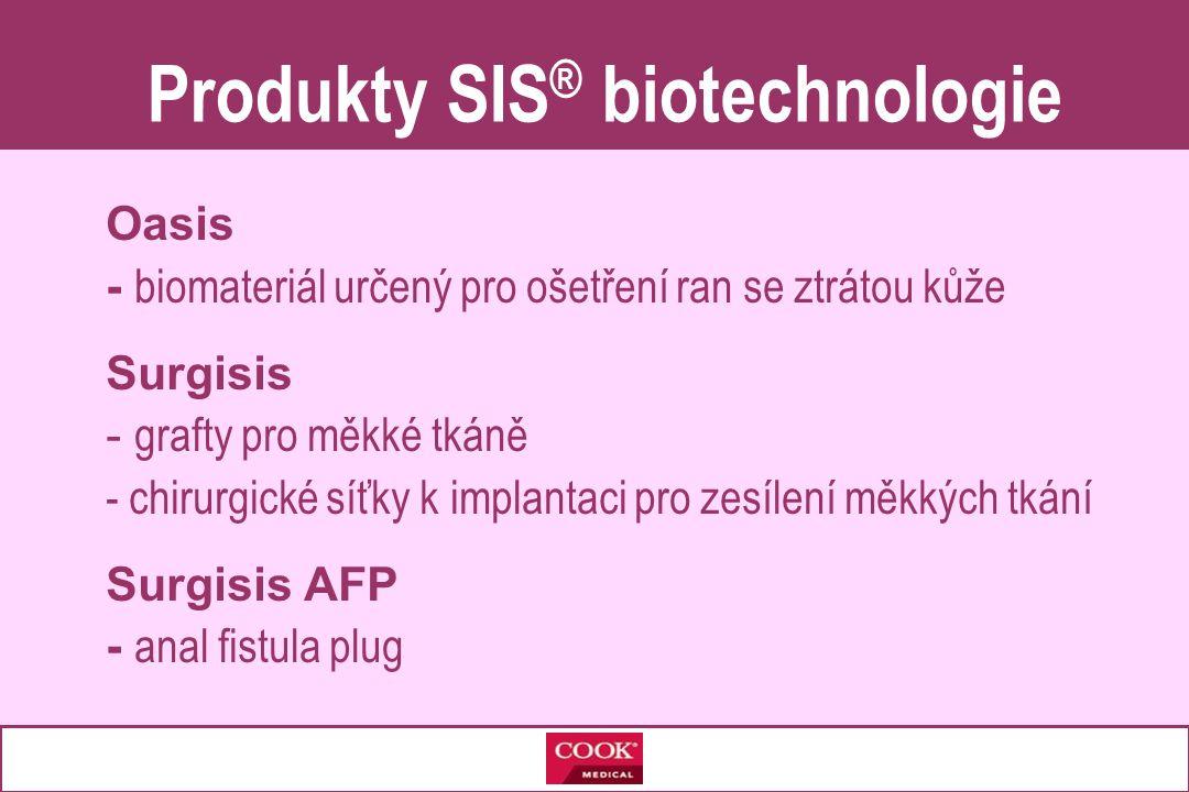 Oasis - biomateriál určený pro ošetření ran se ztrátou kůže Surgisis - grafty pro měkké tkáně - chirurgické síťky k implantaci pro zesílení měkkých tkání Surgisis AFP - anal fistula plug Produkty SIS ® biotechnologie