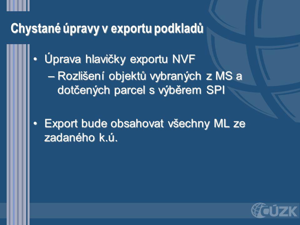 Chystané úpravy v exportu podkladů •Úprava hlavičky exportu NVF –Rozlišení objektů vybraných z MS a dotčených parcel s výběrem SPI •Export bude obsaho