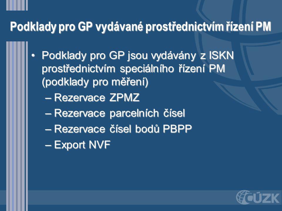 Podklady pro GP vydávané prostřednictvím řízení PM •Podklady pro GP jsou vydávány z ISKN prostřednictvím speciálního řízení PM (podklady pro měření) –