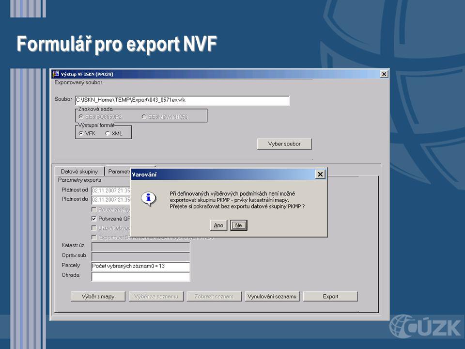 Formulář pro export NVF