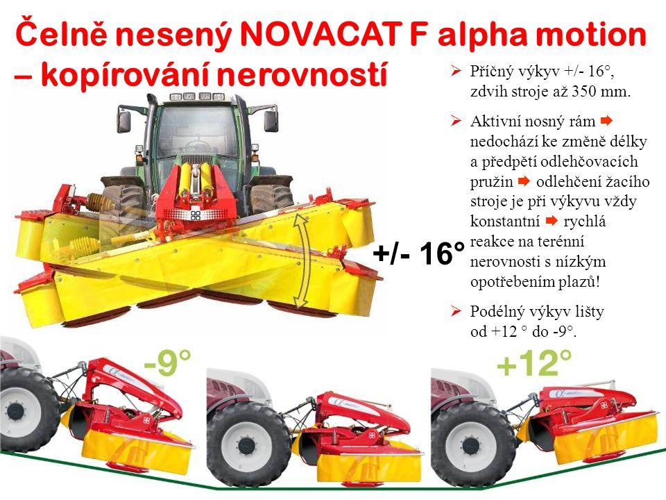 +/- 16°  Příčný výkyv +/- 16°, zdvih stroje až 350 mm.  Aktivní nosný rám  nedochází ke změně délky a předpětí odlehčovacích pružin  odlehčení žac