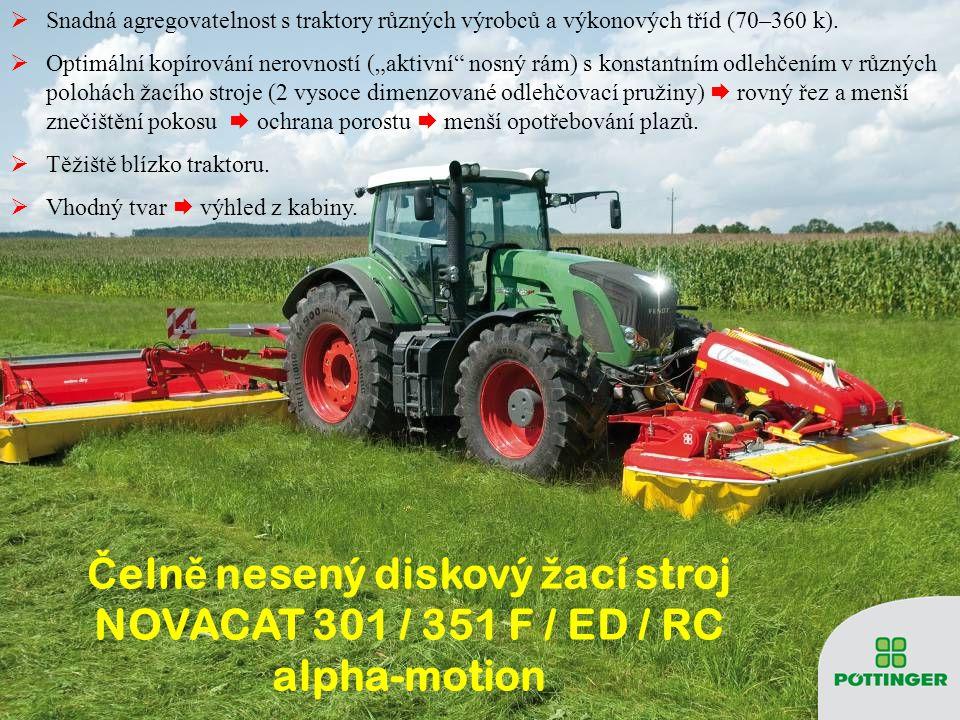 """ Snadná agregovatelnost s traktory různých výrobců a výkonových tříd (70–360 k).  Optimální kopírování nerovností (""""aktivní"""" nosný rám) s konstantní"""
