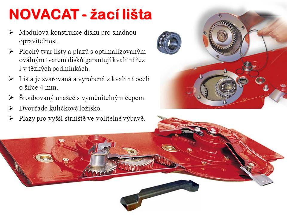 NOVACAT - ž ací lišta MM odulová konstrukce disků pro snadnou opravitelnost. PP lochý tvar lišty a plazů s optimalizovaným oválným tvarem disků ga