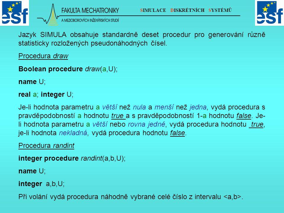 SIMULACE DISKRÉTNÍCH SYSTÉMŮ Jazyk SIMULA obsahuje standardně deset procedur pro generování různě statisticky rozložených pseudonáhodných čísel. Proce