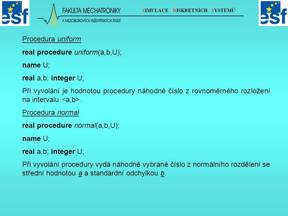 SIMULACE DISKRÉTNÍCH SYSTÉMŮ Procedura uniform real procedure uniform(a,b,U); name U; real a,b; integer U; Při vyvolání je hodnotou procedury náhodné číslo z rovnoměrného rozložení na intervalu.
