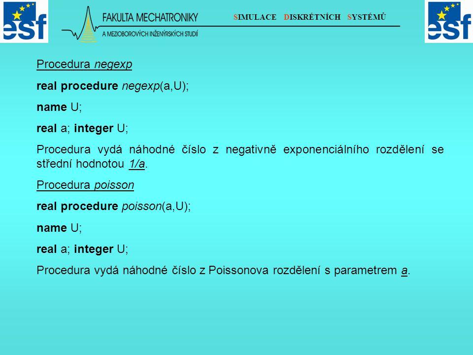 SIMULACE DISKRÉTNÍCH SYSTÉMŮ Procedura negexp real procedure negexp(a,U); name U; real a; integer U; Procedura vydá náhodné číslo z negativně exponenc