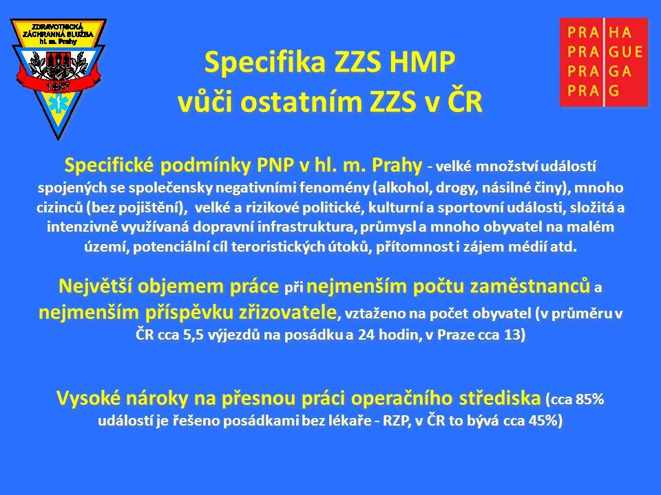 Specifika ZZS HMP vůči ostatním ZZS v ČR Specifické podmínky PNP v hl. m. Prahy - velké množství událostí spojených se společensky negativními fenomén