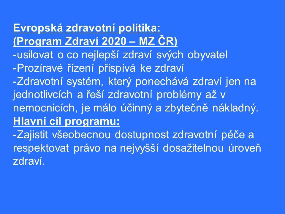 Evropská zdravotní politika: (Program Zdraví 2020 – MZ ČR) -usilovat o co nejlepší zdraví svých obyvatel -Prozíravé řízení přispívá ke zdraví -Zdravotní systém, který ponechává zdraví jen na jednotlivcích a řeší zdravotní problémy až v nemocnicích, je málo účinný a zbytečně nákladný.