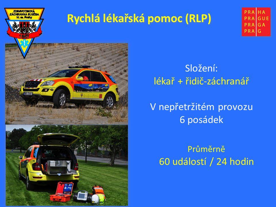 Složení: lékař + řidič-záchranář V nepřetržitém provozu 6 posádek Průměrně 60 událostí / 24 hodin Rychlá lékařská pomoc (RLP)
