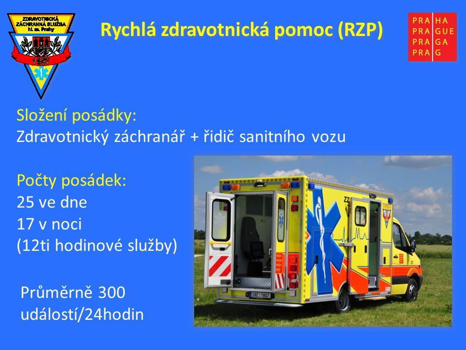 Rychlá zdravotnická pomoc (RZP) Složení posádky: Zdravotnický záchranář + řidič sanitního vozu Počty posádek: 25 ve dne 17 v noci (12ti hodinové služby) Průměrně 300 událostí/24hodin