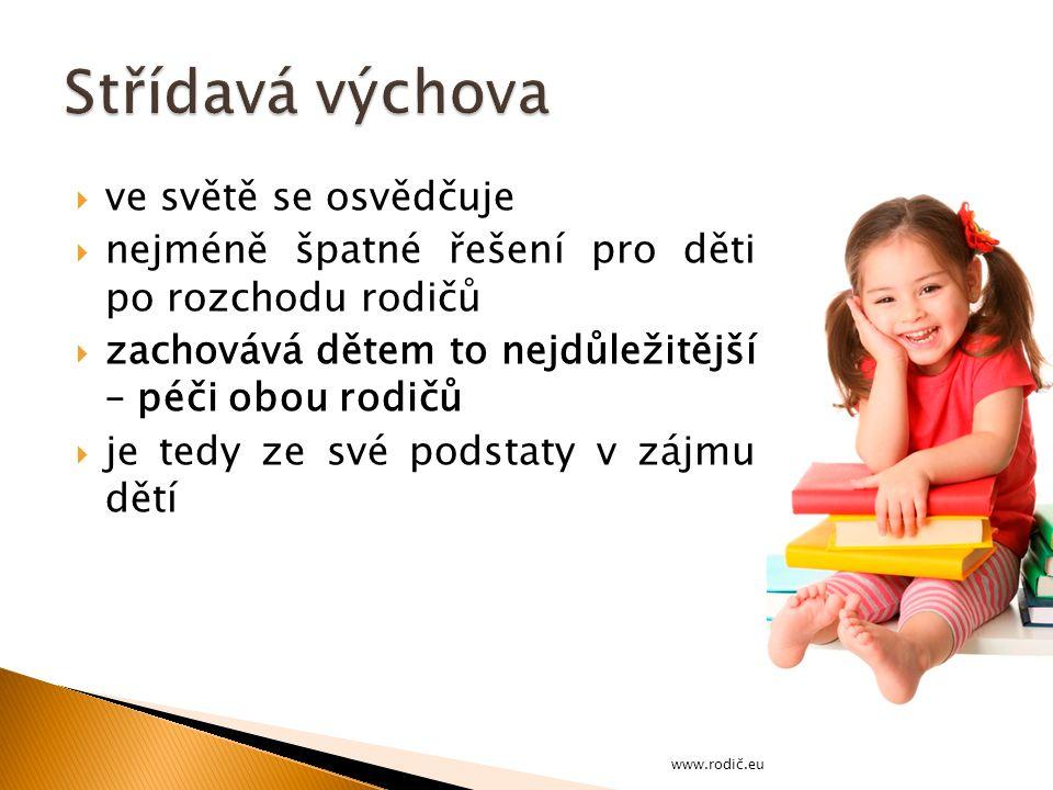  ve světě se osvědčuje  nejméně špatné řešení pro děti po rozchodu rodičů  zachovává dětem to nejdůležitější – péči obou rodičů  je tedy ze své podstaty v zájmu dětí www.rodič.eu