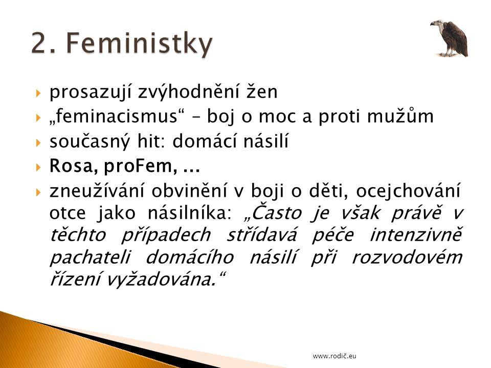 """ prosazují zvýhodnění žen  """"feminacismus – boj o moc a proti mužům  současný hit: domácí násilí  Rosa, proFem,..."""