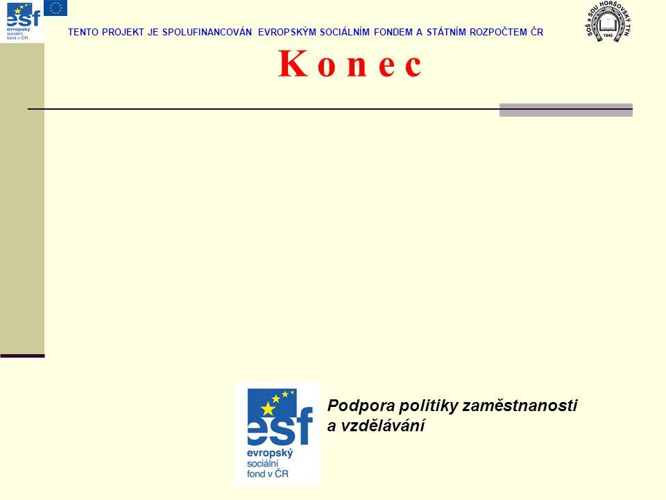 K o n e c Podpora politiky zaměstnanosti a vzdělávání TENTO PROJEKT JE SPOLUFINANCOVÁN EVROPSKÝM SOCIÁLNÍM FONDEM A STÁTNÍM ROZPOČTEM ČR